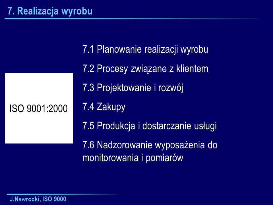 J.Nawrocki, ISO 9000 7. Realizacja wyrobu 7.1 Planowanie realizacji wyrobu 7.2 Procesy związane z klientem 7.3 Projektowanie i rozwój 7.4 Zakupy 7.5 P