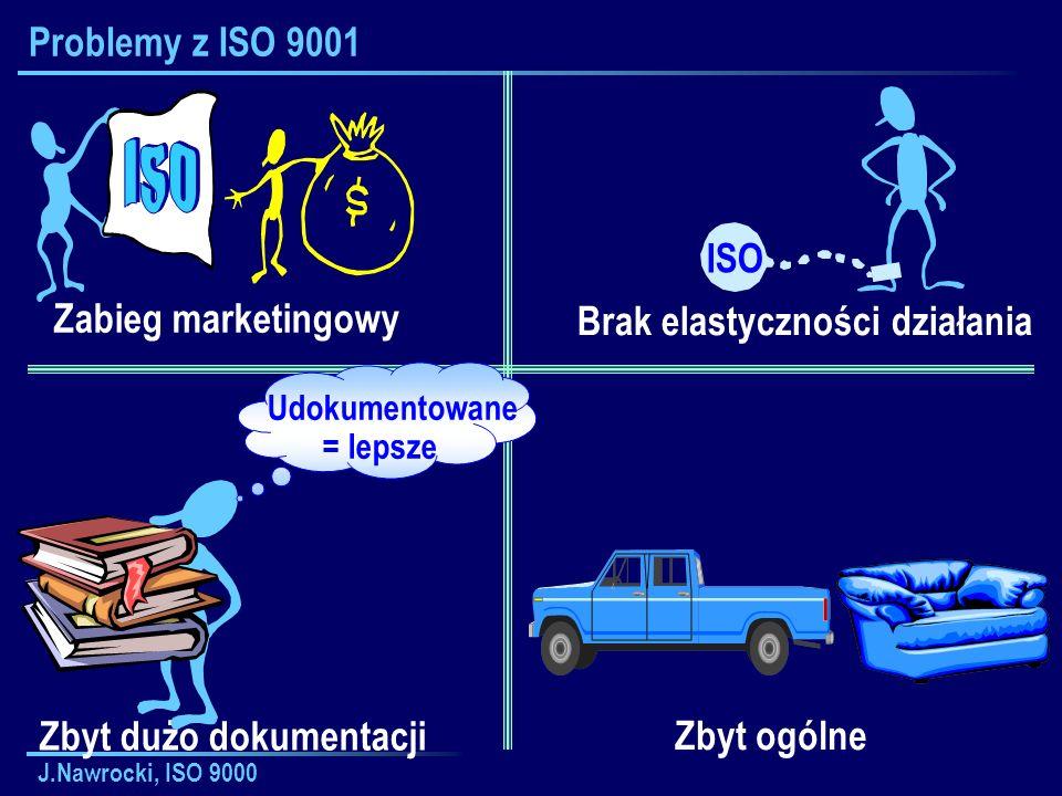 J.Nawrocki, ISO 9000 Problemy z ISO 9001 Zabieg marketingowy Brak elastyczności działania ISO Zbyt dużo dokumentacji Zbyt ogólne Udokumentowane = leps