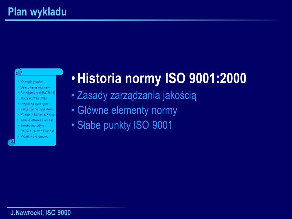 J.Nawrocki, ISO 9000 Dokumentacja w ISO 9001 Polityka jakości i cele jakości Księga jakości Zakres systemu zarządzania jakością (SZJ).