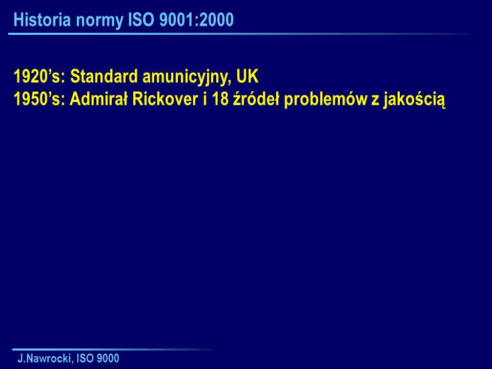 J.Nawrocki, ISO 9000 Historia normy ISO 9001:2000 1920s: Standard amunicyjny, UK 1950s: Admirał Rickover i 18 źródeł problemów z jakością
