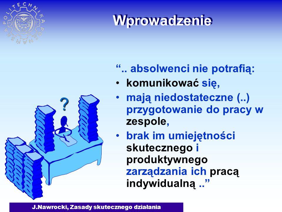 J.Nawrocki, Zasady skutecznego działania Plan wykładu Bądź proaktywny Zaczynaj mając koniec na względzie Aby rzeczy pierwsze były pierwsze Nawyki skutecznego działania Myśl o obopólnej korzyści Najpierw staraj się zrozumieć Dbaj o synergię Ostrz piłę