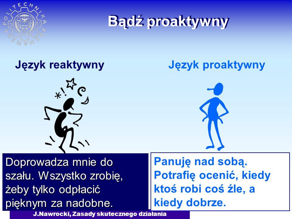 J.Nawrocki, Zasady skutecznego działania Bądź proaktywny Język reaktywnyJęzyk proaktywny Na nic nie mam czasu.