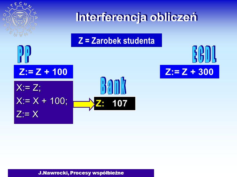 J.Nawrocki, Procesy współbieżne Z: 107 Interferencja obliczeń X:= Z; X:= X + 100; Z:= X Z:= Z + 100Z:= Z + 300 Z = Zarobek studenta