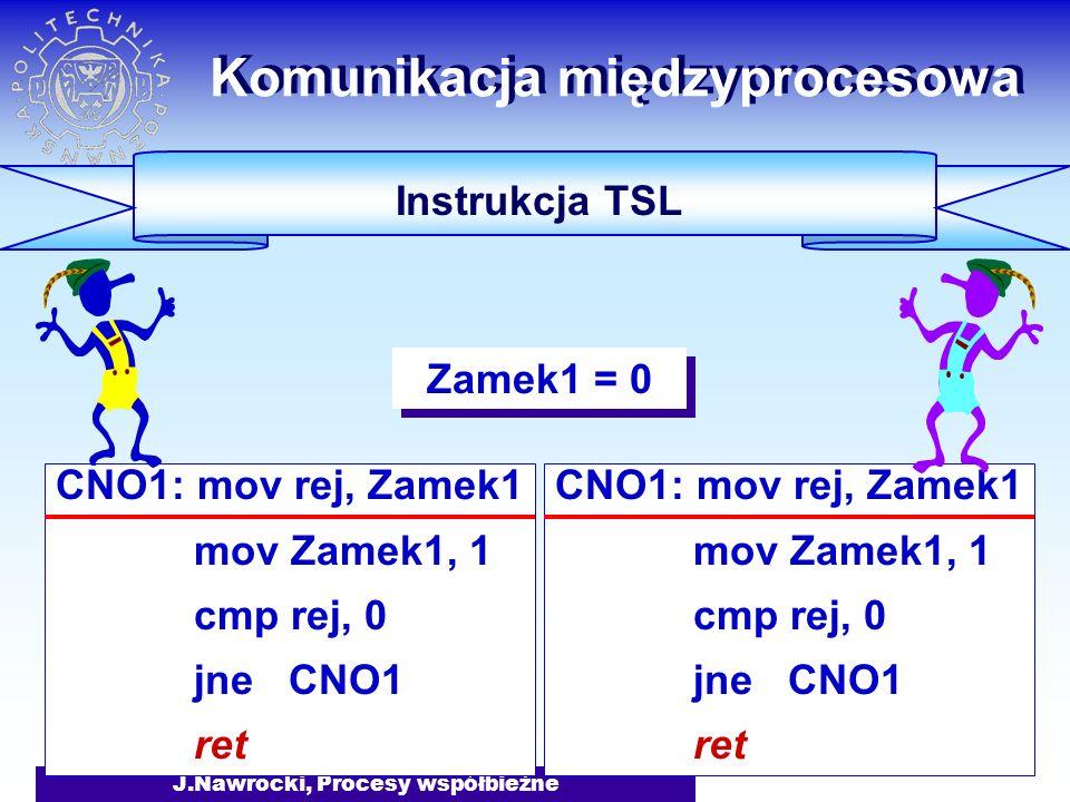 J.Nawrocki, Procesy współbieżne CNO1: mov rej, Zamek1 mov Zamek1, 1 cmp rej, 0 jne CNO1 ret Komunikacja międzyprocesowa Instrukcja TSL CNO1: mov rej, Zamek1 mov Zamek1, 1 cmp rej, 0 jne CNO1 ret Zamek1 = 0