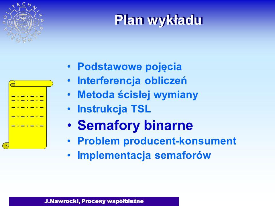 J.Nawrocki, Procesy współbieżne Plan wykładu Podstawowe pojęcia Interferencja obliczeń Metoda ścisłej wymiany Instrukcja TSL Semafory binarne Problem producent-konsument Implementacja semaforów