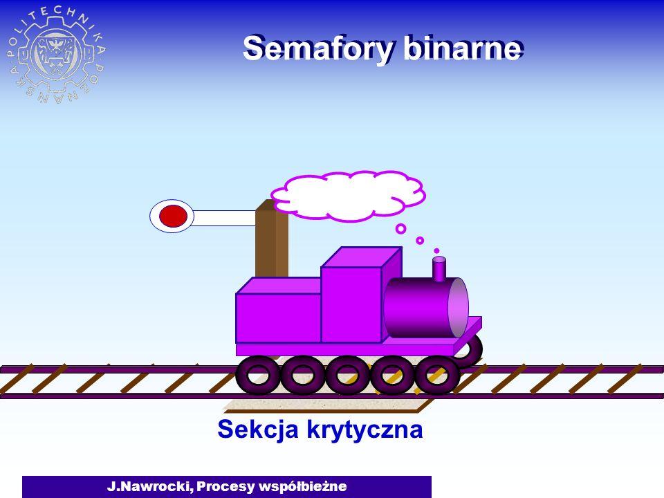 J.Nawrocki, Procesy współbieżne Semafory binarne Sekcja krytyczna