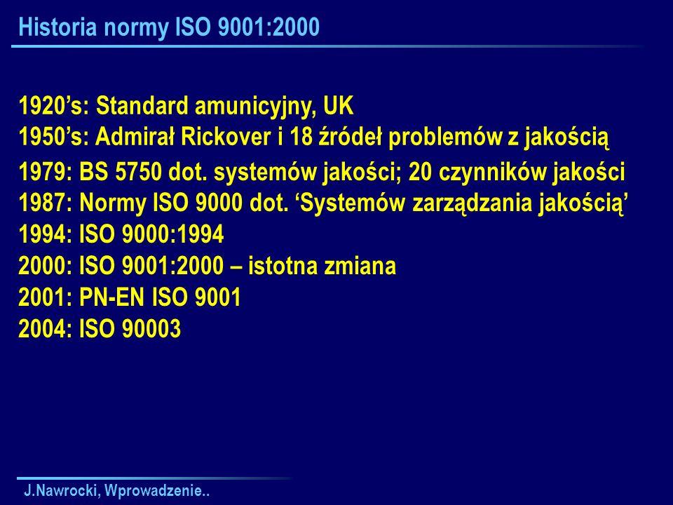 J.Nawrocki, Wprowadzenie..Historia normy ISO 9001:2000 1979: BS 5750 dot.