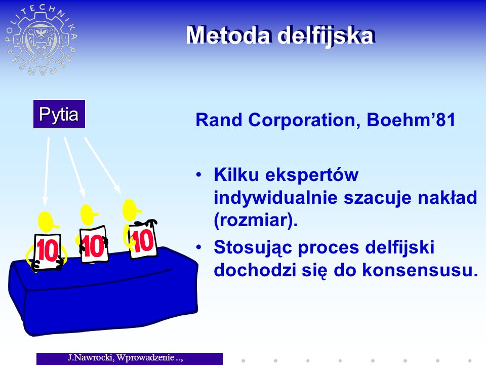 J.Nawrocki, Wprowadzenie.., Wykład 6 Metoda delfijska Rand Corporation, Boehm81 Kilku ekspertów indywidualnie szacuje nakład (rozmiar).