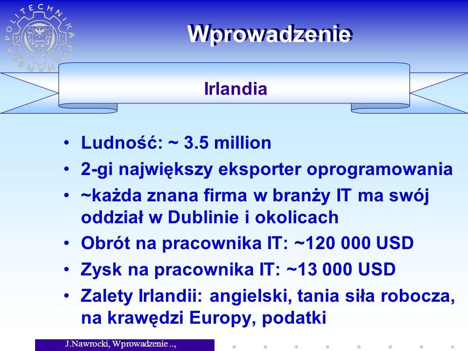 J.Nawrocki, Wprowadzenie.., Wykład 6 Wprowadzenie Ludność: ~ 3.5 million 2-gi największy eksporter oprogramowania ~każda znana firma w branży IT ma swój oddział w Dublinie i okolicach Obrót na pracownika IT: ~120 000 USD Zysk na pracownika IT: ~13 000 USD Zalety Irlandii: angielski, tania siła robocza, na krawędzi Europy, podatki Irlandia