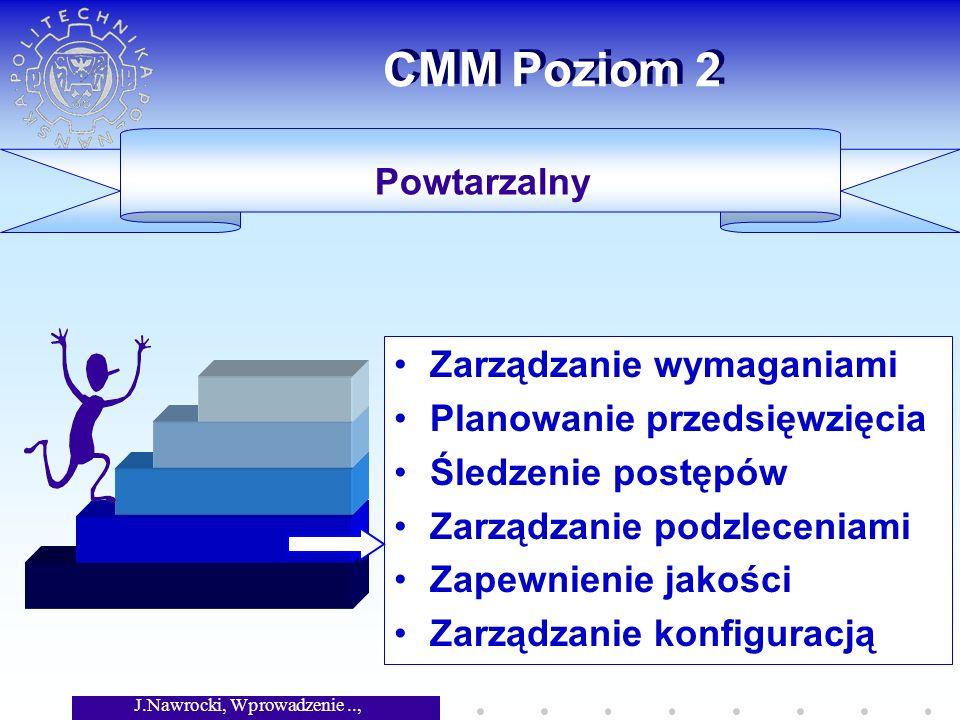 J.Nawrocki, Wprowadzenie.., Wykład 6 CMM Poziom 2 Zarządzanie wymaganiami Planowanie przedsięwzięcia Śledzenie postępów Zarządzanie podzleceniami Zapewnienie jakości Zarządzanie konfiguracją Powtarzalny