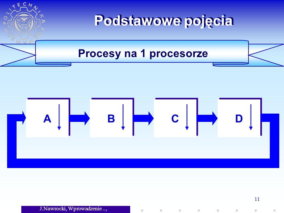 J.Nawrocki, Wprowadzenie.., Wykład 7 11 Procesy na 1 procesorze Podstawowe pojęcia A A B B C C D D
