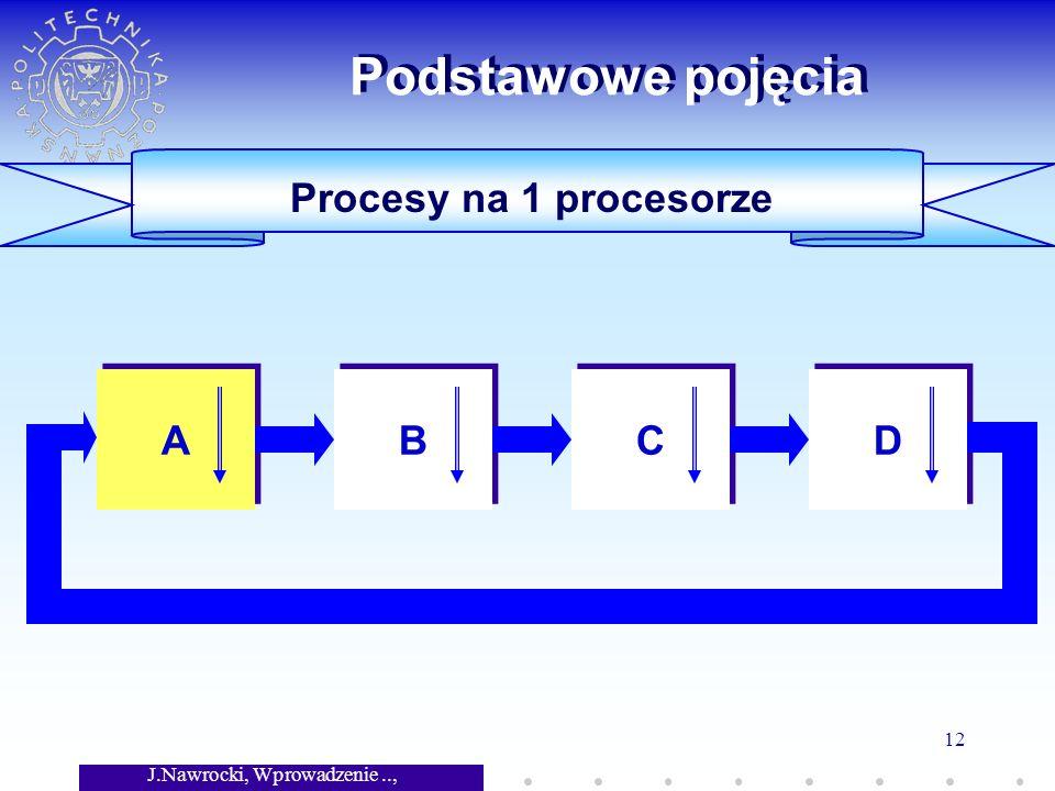 J.Nawrocki, Wprowadzenie.., Wykład 7 12 Procesy na 1 procesorze Podstawowe pojęcia A A B B C C D D