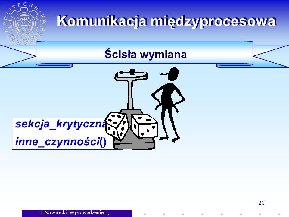 J.Nawrocki, Wprowadzenie.., Wykład 7 21 Komunikacja międzyprocesowa Ścisła wymiana sekcja_krytyczna(); inne_czynności()