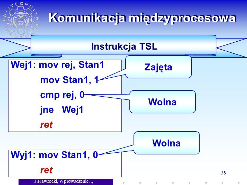 J.Nawrocki, Wprowadzenie.., Wykład 7 38 Wyj1: mov Stan1, 0 ret Wej1: mov rej, Stan1 mov Stan1, 1 cmp rej, 0 jne Wej1 ret Komunikacja międzyprocesowa Instrukcja TSL Zajęta Wolna