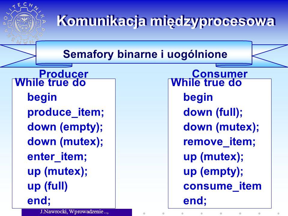 J.Nawrocki, Wprowadzenie.., Wykład 7 41 While true do begin produce_item; down (empty); down (mutex); enter_item; up (mutex); up (full) end; Komunikacja międzyprocesowa Semafory binarne i uogólnione Producer While true do begin down (full); down (mutex); remove_item; up (mutex); up (empty); consume_item end; Consumer