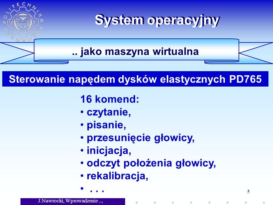 J.Nawrocki, Wprowadzenie.., Wykład 7 5 System operacyjny.. jako maszyna wirtualna 16 komend: czytanie, pisanie, przesunięcie głowicy, inicjacja, odczy