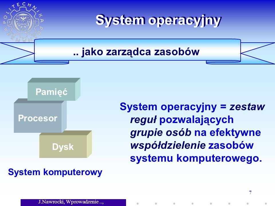 J.Nawrocki, Wprowadzenie.., Wykład 7 7 Dysk.. jako zarządca zasobów System operacyjny System operacyjny = zestaw reguł pozwalających grupie osób na ef