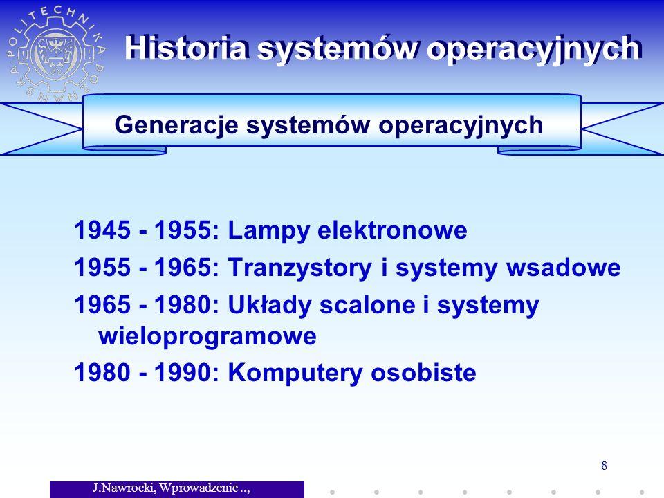 J.Nawrocki, Wprowadzenie.., Wykład 7 8 Generacje systemów operacyjnych Historia systemów operacyjnych 1945 - 1955: Lampy elektronowe 1955 - 1965: Tran