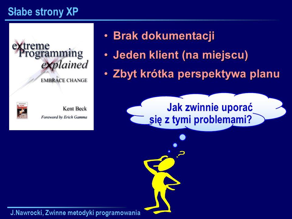 J.Nawrocki, Zwinne metodyki programowania Słabe strony XP Brak dokumentacjiBrak dokumentacji Jeden klient (na miejscu)Jeden klient (na miejscu) Zbyt k