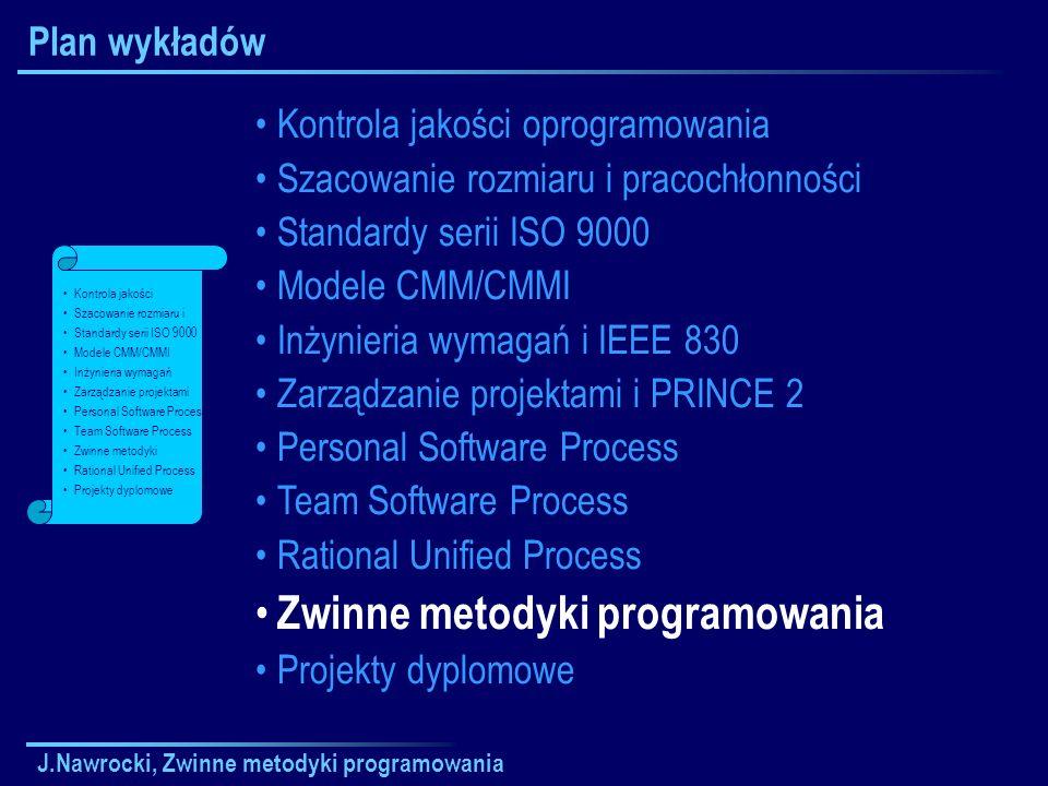 J.Nawrocki, Zwinne metodyki programowania Plan wykładów Kontrola jakości oprogramowania Szacowanie rozmiaru i pracochłonności Standardy serii ISO 9000
