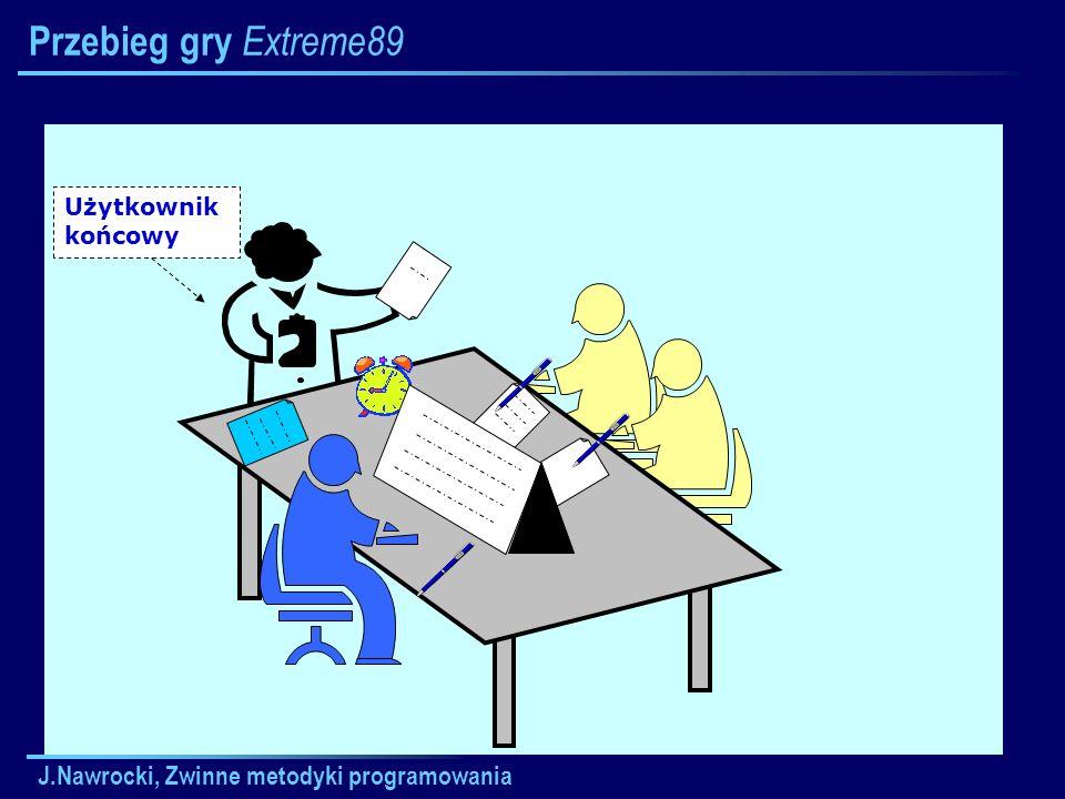 J.Nawrocki, Zwinne metodyki programowania Przebieg gry Extreme89 Użytkownik końcowy