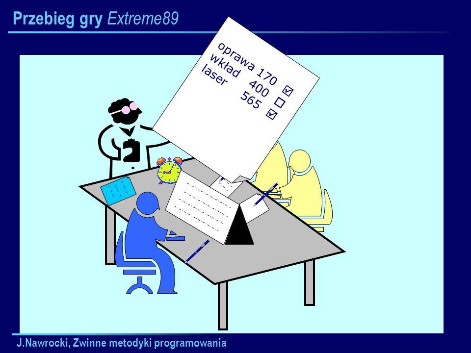 J.Nawrocki, Zwinne metodyki programowania Przebieg gry Extreme89 oprawa170 wkład400 laser565