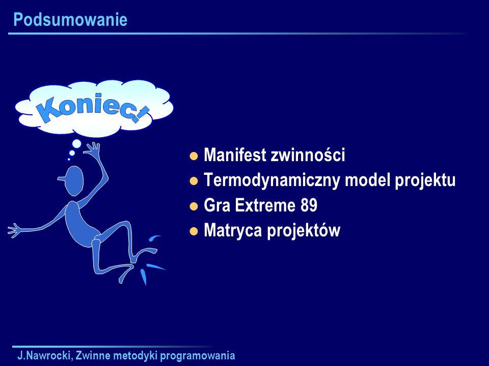 J.Nawrocki, Zwinne metodyki programowania Podsumowanie Manifest zwinności Termodynamiczny model projektu Gra Extreme 89 Matryca projektów