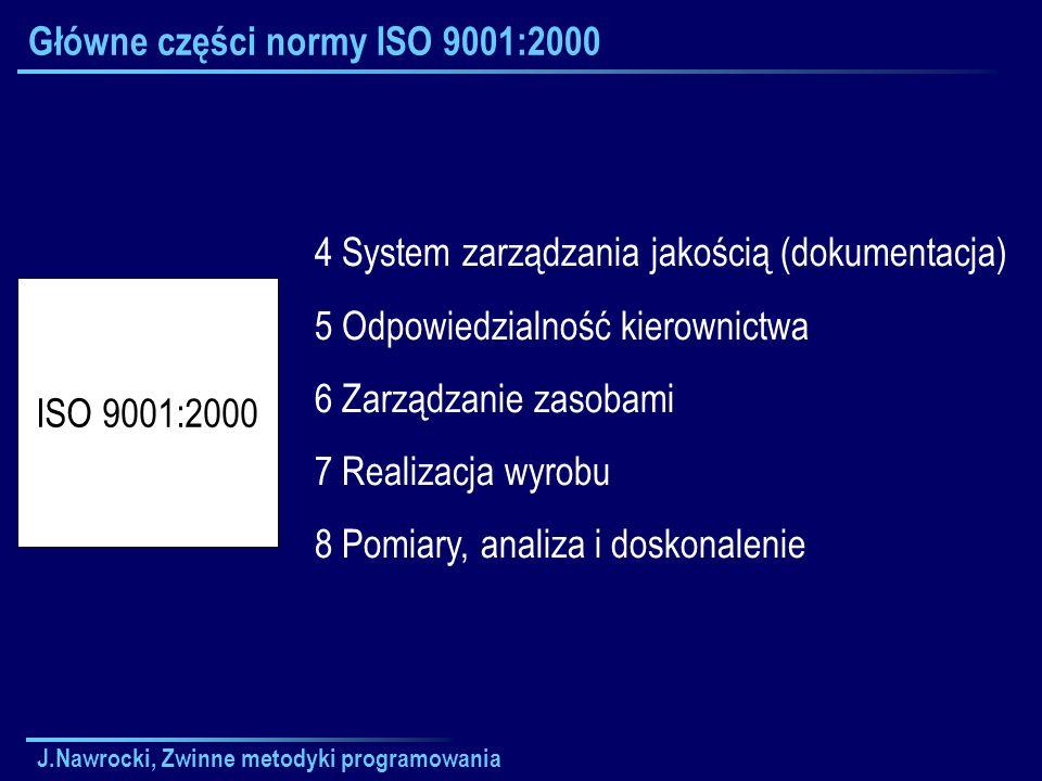 J.Nawrocki, Zwinne metodyki programowania Główne części normy ISO 9001:2000 4 System zarządzania jakością (dokumentacja) 5 Odpowiedzialność kierownict