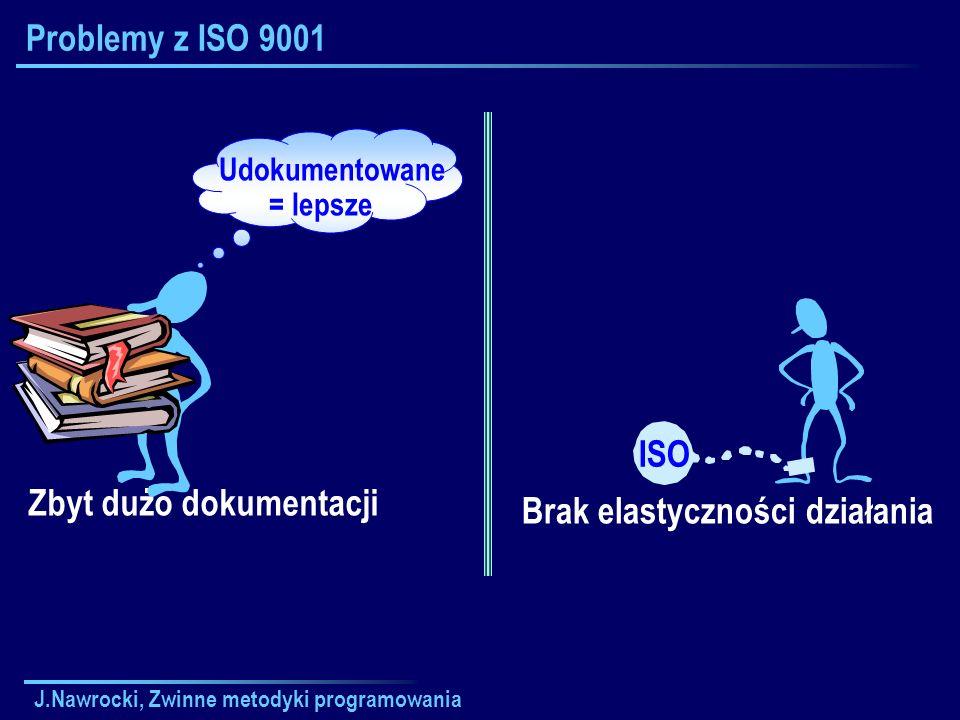J.Nawrocki, Zwinne metodyki programowania Problemy z ISO 9001 Brak elastyczności działania ISO Zbyt dużo dokumentacji Udokumentowane = lepsze