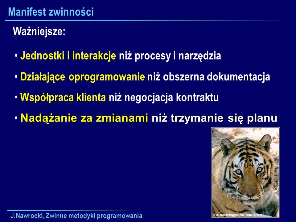 J.Nawrocki, Zwinne metodyki programowania Manifest zwinności Jednostki i interakcje niż procesy i narzędzia Ważniejsze: Działające oprogramowanie niż