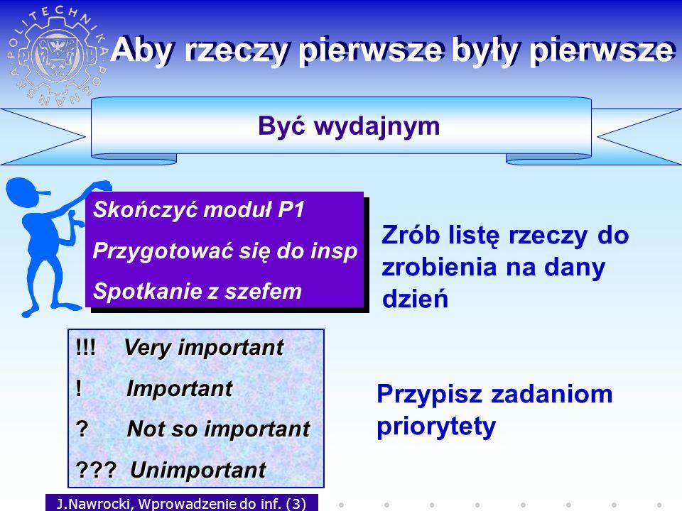 J.Nawrocki, Wprowadzenie do inf. (3) Skończyć moduł P1 Przygotować się do insp Spotkanie z szefem Skończyć moduł P1 Przygotować się do insp Spotkanie