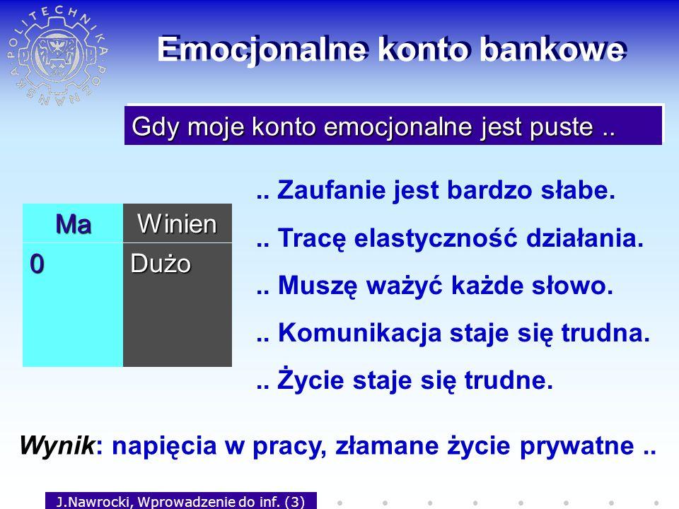 J.Nawrocki, Wprowadzenie do inf. (3) Emocjonalne konto bankowe MaWinien 0Dużo Gdy moje konto emocjonalne jest puste.... Zaufanie jest bardzo słabe...