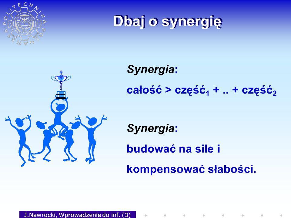 J.Nawrocki, Wprowadzenie do inf. (3) Dbaj o synergię Synergia: całość > część 1 +.. + część 2 Synergia: budować na sile i kompensować słabości.