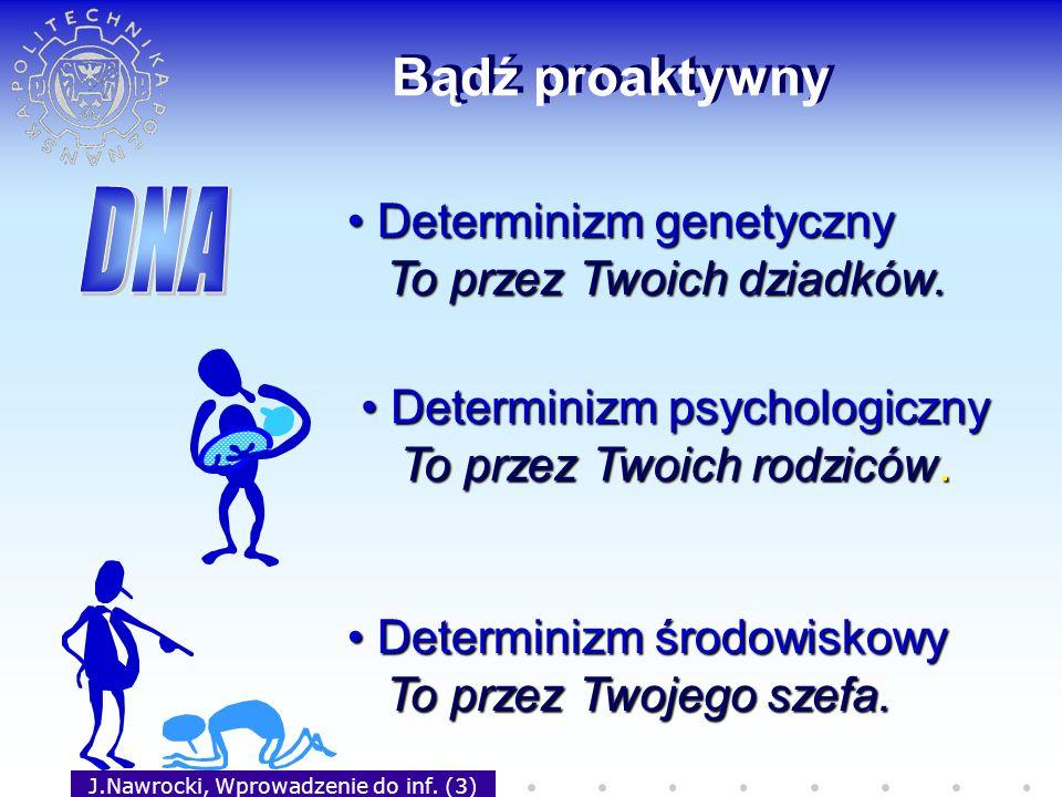 J.Nawrocki, Wprowadzenie do inf. (3) Bądź proaktywny Determinizm psychologiczny Determinizm psychologiczny To przez Twoich rodziców. To przez Twoich r