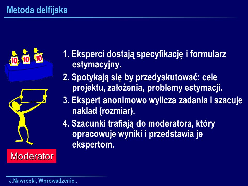 J.Nawrocki, Wprowadzenie.. Metoda delfijska 1. Eksperci dostają specyfikację i formularz estymacyjny. 2. Spotykają się by przedyskutować: cele projekt