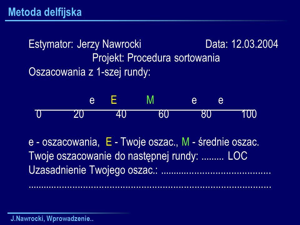 J.Nawrocki, Wprowadzenie.. Metoda delfijska Estymator: Jerzy Nawrocki Data: 12.03.2004 Projekt: Procedura sortowania Oszacowania z 1-szej rundy: e E M