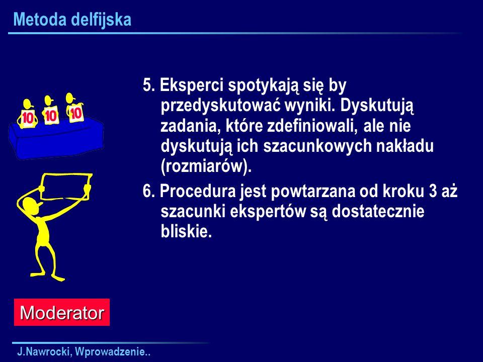 J.Nawrocki, Wprowadzenie.. Metoda delfijska 5. Eksperci spotykają się by przedyskutować wyniki. Dyskutują zadania, które zdefiniowali, ale nie dyskutu