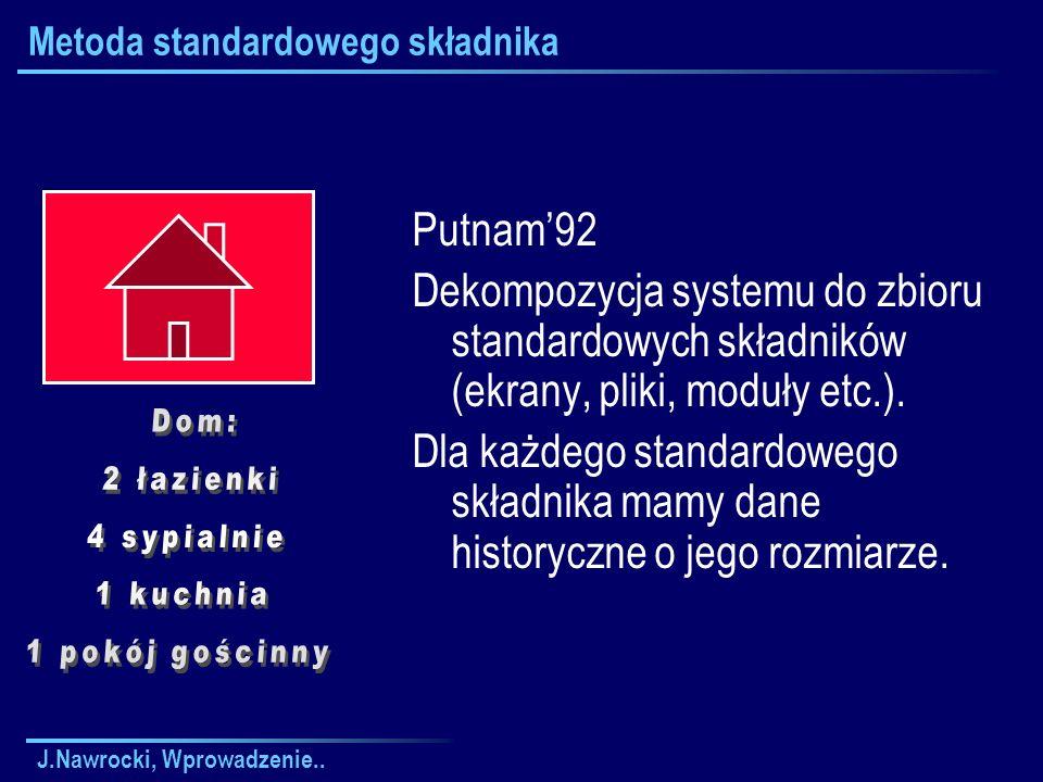 J.Nawrocki, Wprowadzenie.. Metoda standardowego składnika Putnam92 Dekompozycja systemu do zbioru standardowych składników (ekrany, pliki, moduły etc.