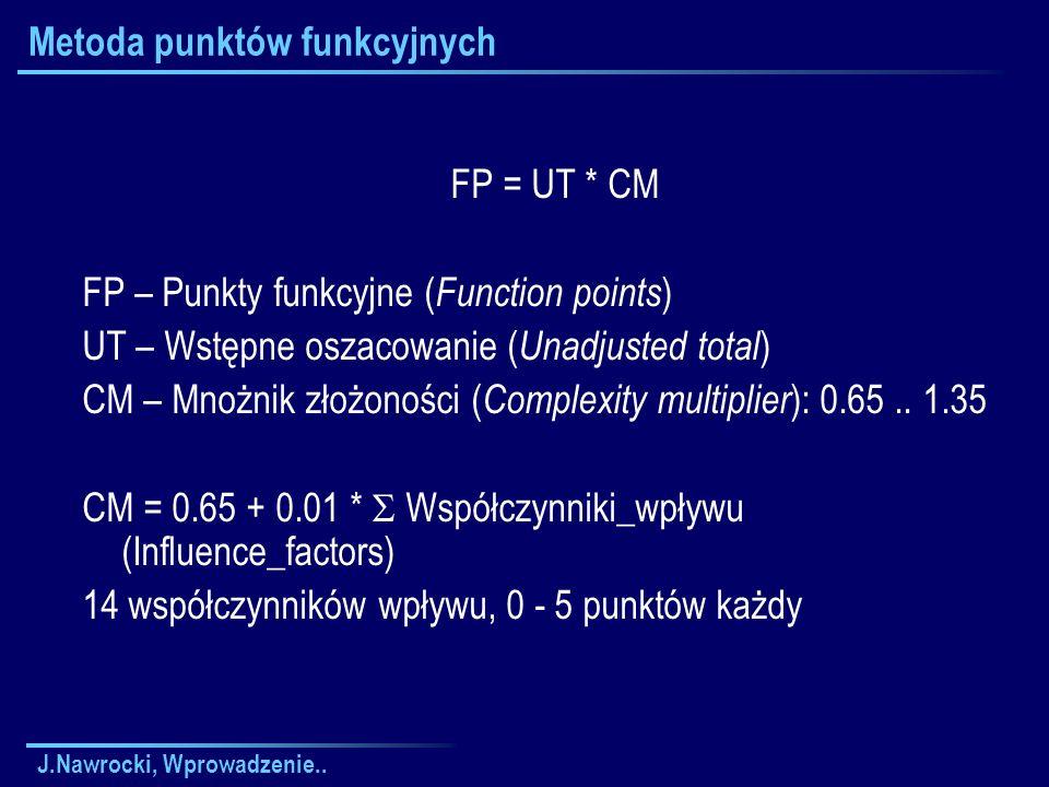 J.Nawrocki, Wprowadzenie.. Metoda punktów funkcyjnych FP = UT * CM FP – Punkty funkcyjne ( Function points ) UT – Wstępne oszacowanie ( Unadjusted tot