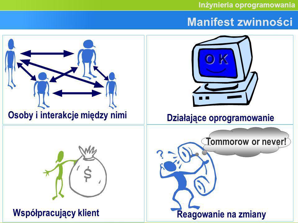 Etap przedprojektowy (3) Inżynieria oprogramowania Osoby i interakcje między nimi O K Działające oprogramowanie Manifest zwinności Współpracujący klie