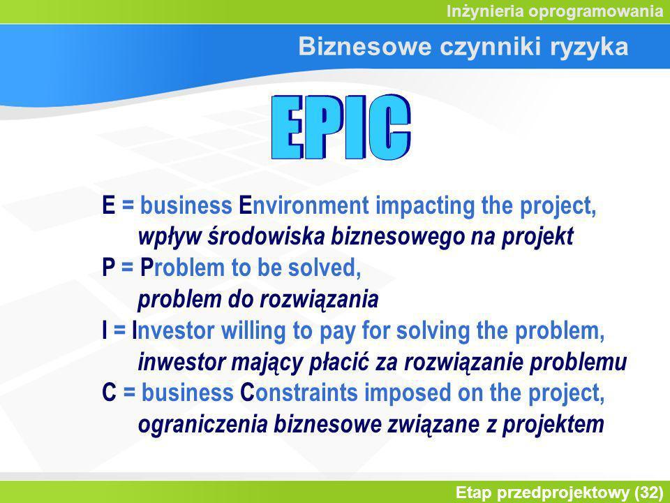 Etap przedprojektowy (32) Inżynieria oprogramowania Biznesowe czynniki ryzyka E = business Environment impacting the project, wpływ środowiska biznesowego na projekt P = Problem to be solved, problem do rozwiązania I = Investor willing to pay for solving the problem, inwestor mający płacić za rozwiązanie problemu C = business Constraints imposed on the project, ograniczenia biznesowe związane z projektem