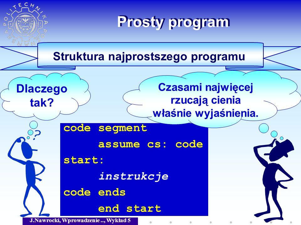 J.Nawrocki, Wprowadzenie.., Wykład 5 Prosty program Przykład programu prog segment assume cs: prog start: add ax, bx add ax, cx int 3 prog ends end start ax := ax + bx + cx Koniec pracy