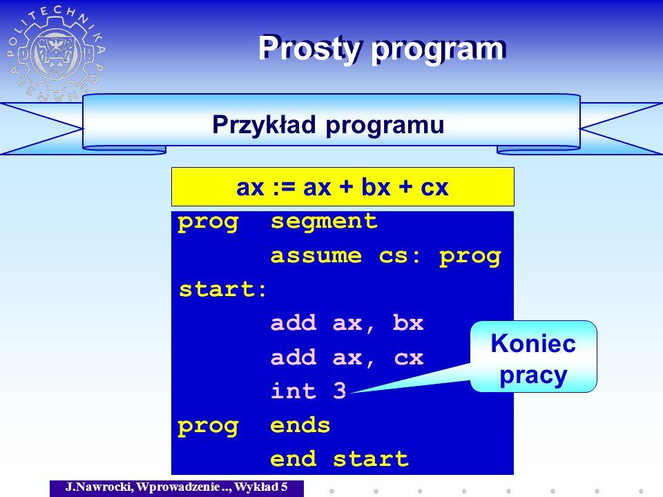 J.Nawrocki, Wprowadzenie.., Wykład 5 ax := bx + cx Arytmetyka heksadecymalna c := z MOV c, z move prog segment assume cs: prog start: mov ax, bx add ax, cx int 3 prog ends end start