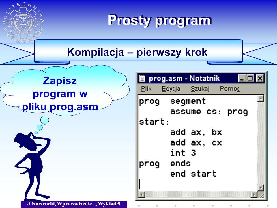 J.Nawrocki, Wprowadzenie.., Wykład 5 Prosty program Uproszczony schemat kompilacji MASMLINK prog.obj prog.exe prog.asmprog.lst
