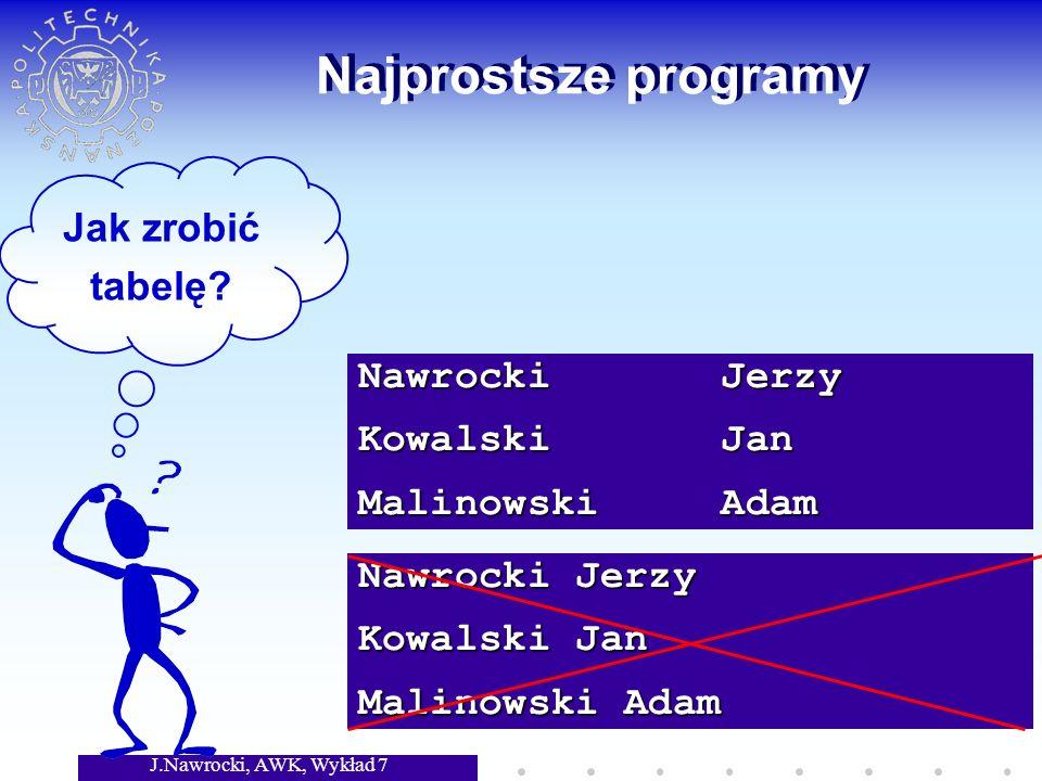 J.Nawrocki, AWK, Wykład 7 Nawrocki Jerzy Kowalski Jan Malinowski Adam Najprostsze programy Jak zrobić tabelę.