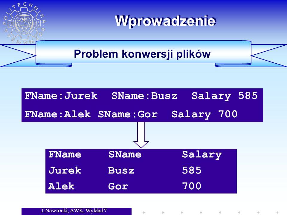 J.Nawrocki, AWK, Wykład 7 Wprowadzenie Problem konwersji plików #include FILE *fin; char token[200]; char gettoken(void) {int i=0; char c; do {c = getc(fin); if (c == EOF) return (EOF); } while (c < !); #include FILE *fin; char token[200]; char gettoken(void) {int i=0; char c; do {c = getc(fin); if (c == EOF) return (EOF); } while (c < !); Rozwiązanie w C: 40 linii kodu