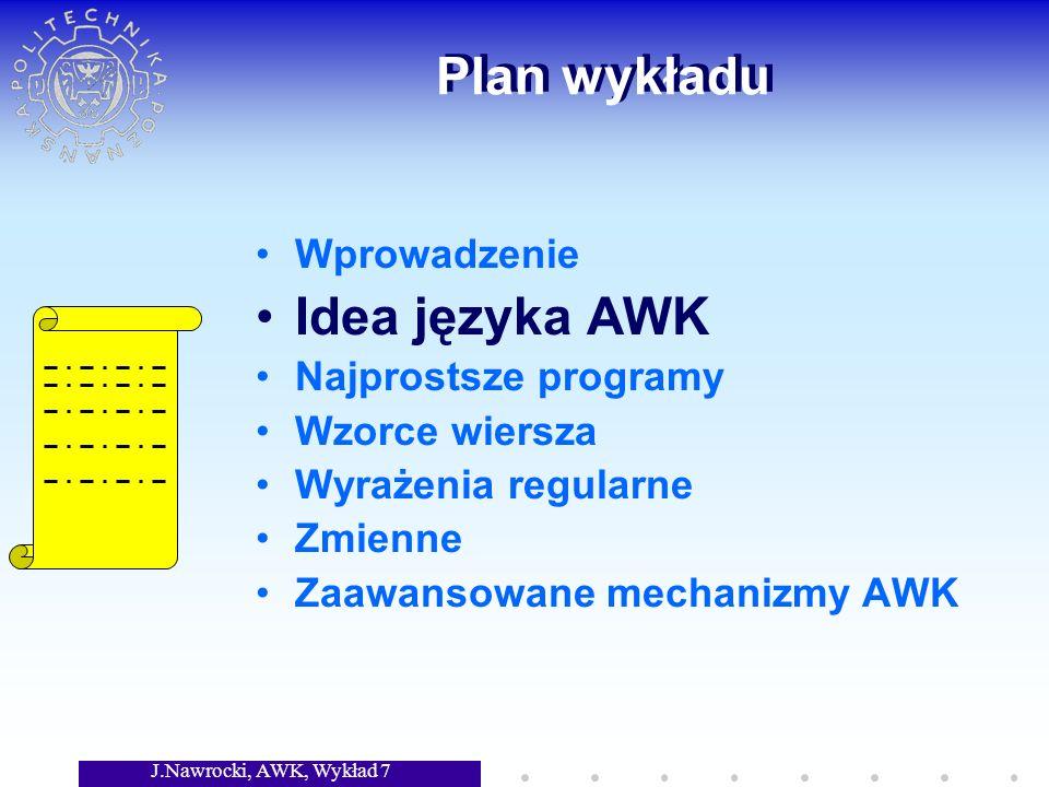 J.Nawrocki, AWK, Wykład 7 Zmienne {total= total + NF} END {print File: , FILENAME; print Num.