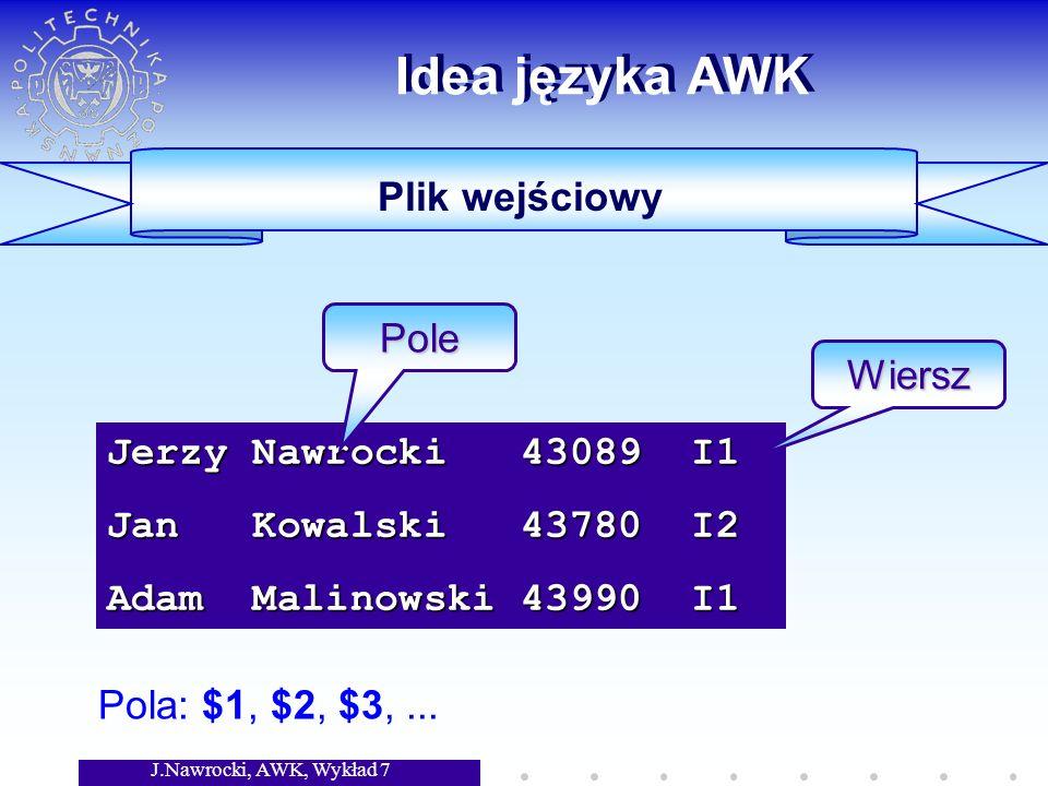 J.Nawrocki, AWK, Wykład 7 Idea języka AWK Jerzy Nawrocki 43089 I1 Jan Kowalski 43780 I2 Adam Malinowski 43990 I1 Pole Wiersz Pola: $1, $2, $3,...