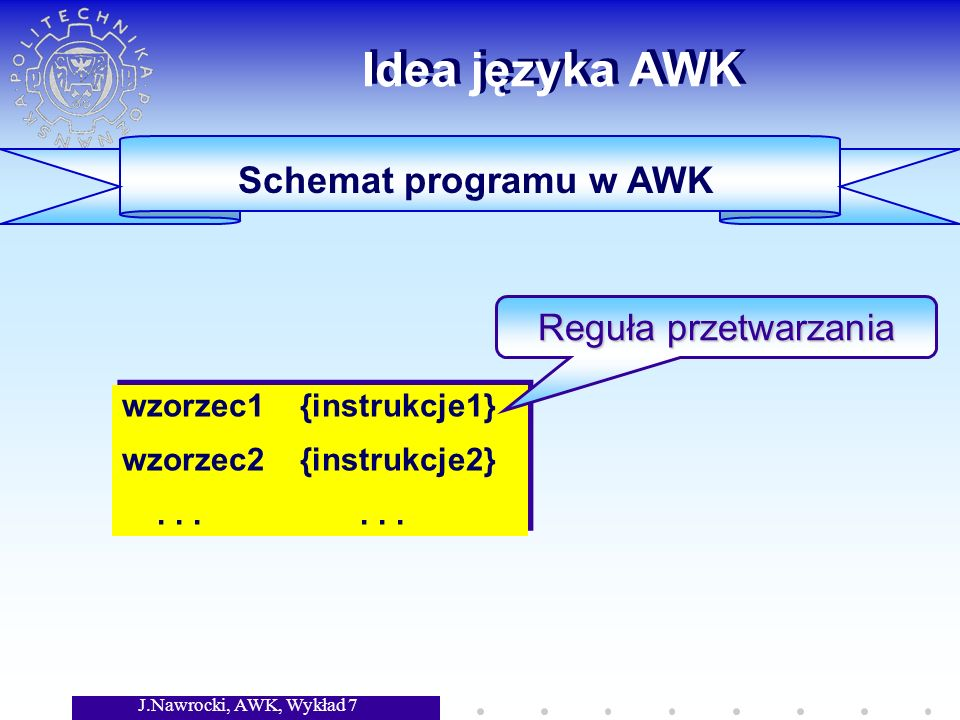 J.Nawrocki, AWK, Wykład 7 Idea języka AWK Schemat programu w AWK wzorzec1 {instrukcje1} wzorzec2 {instrukcje2}......