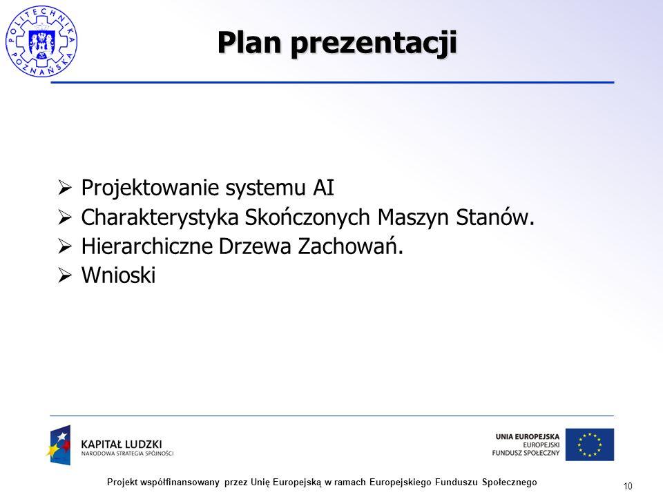 10 Projekt współfinansowany przez Unię Europejską w ramach Europejskiego Funduszu Społecznego Plan prezentacji Projektowanie systemu AI Charakterystyk